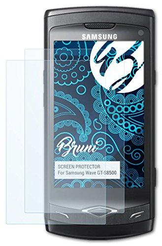 Bruni Samsung Wave (GT-S8500) Folie - 2 x glasklare Displayschutzfolie Schutzfolie für Samsung Wave (GT-S8500)