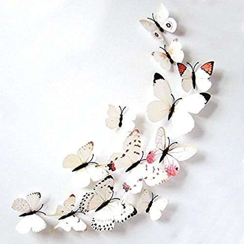 Forepin® 24 Pezzi 3D Farfalle Magnete Casa Camera Frigo Decorazioni Animal Wall Sticker Adesivi Murali Adesivi da Parete con Colla Stick - Bianca