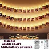 40 Foto clip Catena di luci a LED, 5 metri/8 modalità, USB/funzionamento a batteria, illuminazione d'atmosfera, decorazione per soggiorno,San Valentino, compleanno, Party, Matrimonio(bianco caldo)
