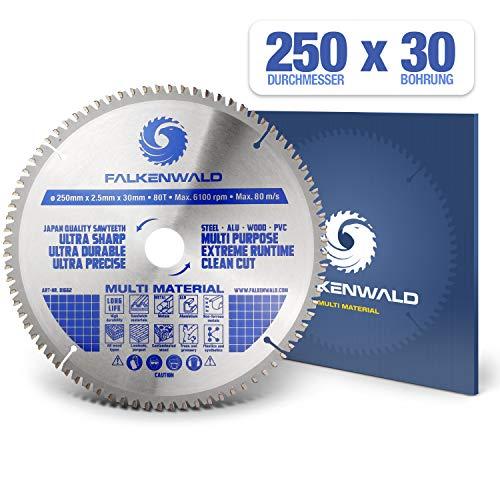 FALKENWALD ® Kreissägeblatt 250 x 30 mm - Ideal für Holz, Metall & Alu - Kappsägeblatt kompatibel mit Gehrungssäge & Tischkreissäge von Bosch & Metabo - Universal Sägeblatt aus hochwertigem Hartmetall