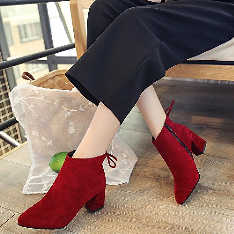 DHG Botas de Tacón Alto con Botas de Cuero de Gamuza Gruesa, Zapatos Europeos Y Americanos,UN,35