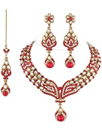 I Jewels Traditional Gold Plated Kundan Necklace Set With Maang Tikka For Women(Red)(K7027R)