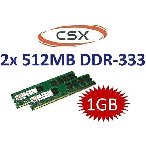 Compustocx - Juego de memorias RAM DDR-333 de 1GB para ordenadores (2 módulos de 512MB, 184pines, módulo DIMM, 333MHz, PC-2700, CL2,5)
