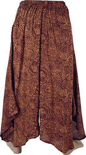 Guru-Shop Palazzohose Hosenrock Schlaghose Sommerhose Hippie Goa Hose, Damen, Viskose, Size:38, Lange Hosen Alternative Bekleidung Braun