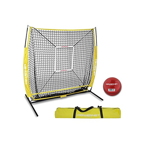 Powernet Baseball und Softball Praxis Net 5x 5(Paket mit Strike Zone und Training Ball +, gelb -