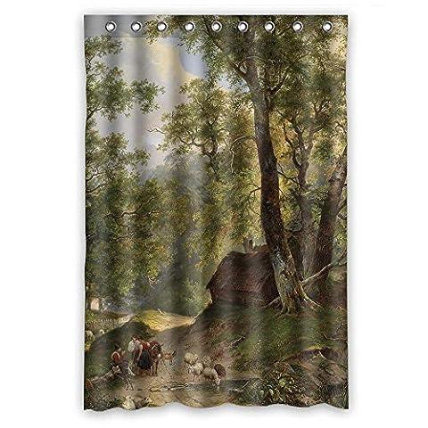 Breite x Höhe/121,9x 182,9cm/W H 120von 180cm Polyester Schöne Landschaft Landschaft Gemälde Weihnachten Dusche Vorhänge Stoff ist Fit für Ihn Mutter Hotel Custom Teenager. Wasser Schrecken