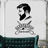 Barbershop Logo Wall Decal Wandbild Barber Shop Zeichen Aufkleber Fenster Dekor Abziehbilder Barber's Logo Wandbilder Friseursalon Tapeten 56X84cm