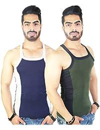 Zimfit Men's Gym Vest 112(Navy_Green)