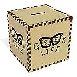 Grand 'Geek Life' tirelire en bois (MB00043820)
