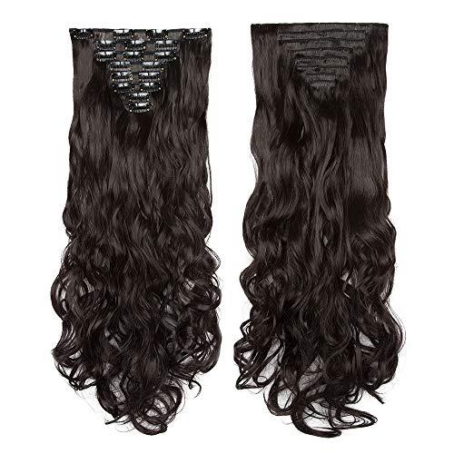 Extension clip capelli hair extensions sintetiche 8 ciocche lunghi 60cm ricci mossi finti full head con clips - marrone forte