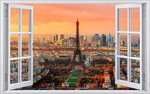 DesFoli Frankreich Eifelturm 3D Look Wandtattoo 70 x 115 cm Wanddurchbruch Wandbild Sticker Aufkleber F285 (Paris-fenster-aufkleber)
