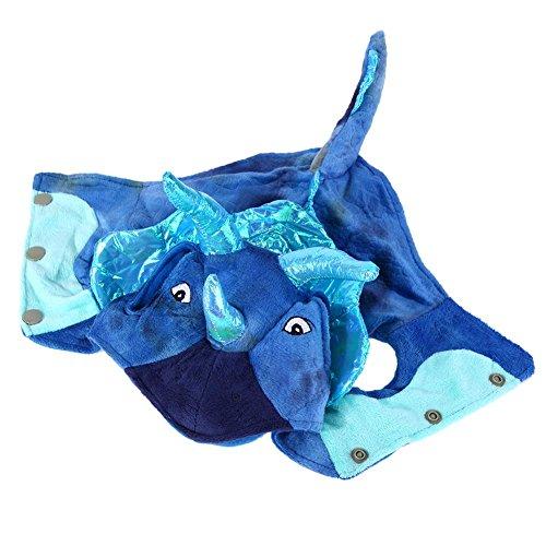 und Warm Coral Samt Kostüme Dragon Halloween-Kostüm (blau) (S) (Happy Halloween Kostüme Haustier)