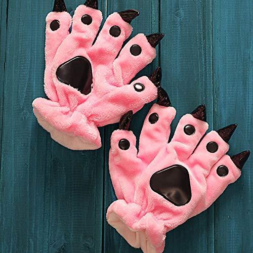 JYLW Damen Schlafanzug Sneakers Niedlichen Tier Paw Hausschuhe Handschuhe Monster Claw Cartoon Slipper Warme Handschuhe Winter Indoor-Schuhe Match Onesies, Rosa Handschuhe, 35 -