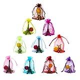 100 pz 10 x 15 cm multicolore regalo in organza, cordino sacchetti per festa di nozze festival (10 colori)