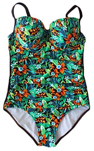 Sawadikaa Donne Modello un Pezzo Plus Size Costume Monokinis Costumi da Bagno Costumi interi Caffè