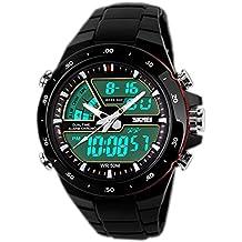 SunJas Reloj Deportivo para Hombres Resistente contra Agua de 50m Pulsera Digital con Luces Banda Desmontable de Multifunciones para Deportes Exteriores (Negro)