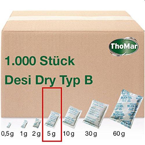 Desi Dry Typ B staubdicht | 5 Gramm | 1000 Stück | Silica-Gel | Silika-Gel | Trockenmittel-Beutel | karton-verpackt (Industriemenge) | weitere Größen erhältlich