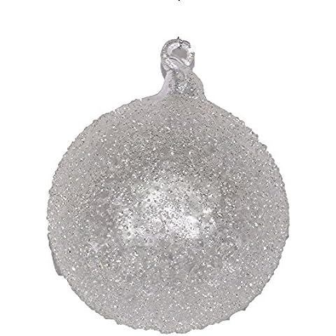 Pallina di Natale in vetro brinato trasparente e bianco 8