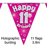 Happy 11th Birthday Pink Holographic Foil Party Bunting 3.9m Long 11 Flags