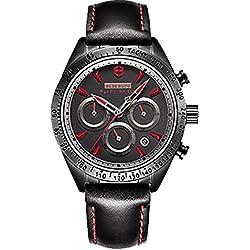 Schwarz Rot Herren Fashion funktionelle Wasserdicht Sports Armbanduhr Leder Saphir Quarz Armbanduhr