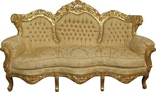 Barock Sofa King Creme Barock Muster/Gold Mod2 - Möbel Lounge Couch