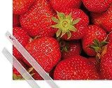 1art1 Poster + Hanger: Früchte Poster (50x40 cm) Süße Erdbeeren Inklusive Ein Paar Posterleisten, Transparent