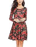 Parabler Damen Kleid Vintage Blumen Jerseykleid mit Falten Langarm Strandkleid Knielang Rockabilly Swing Freizeitkleid A-Linie Elegant (Schwarz(B), EU 38(Herstellergröße:M))
