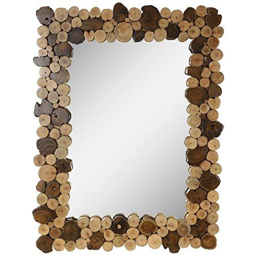 Dekorativer Spiegel mit Rahmen aus Holzscheiben Mosaik Wandspiegel aus Thailand Massiv Holzrahmen Holz-Spiegel ca. 45 x 60 cm Nr. 9 (Spiegel Mit Rahmen)
