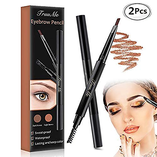 Augenbrauenstift, Eyebrow Tattoo, Eyebrow pencil, Augenbrauenstift Wasserfest, Doppelkopf Augenbrauenstift 2 Packs, Wasserdicht Wischfester Automatisch Make-up Stift Pinsel für Augenbrauen Make-up