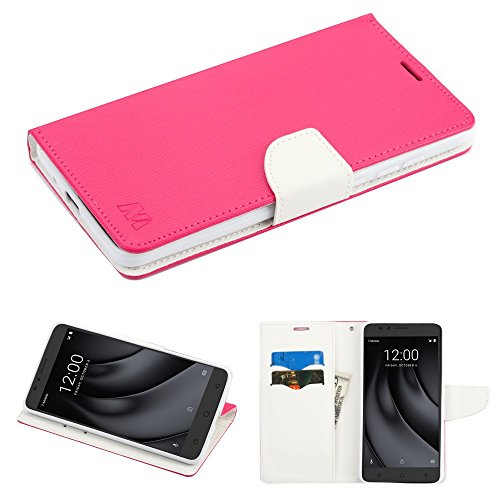 Fall + Stylus für Coolpad c3701 a (revvl Plus)/Tmobile Geeignet revvl Plus MYBAT Hot Pink Muster/Weiß Liner MyJacket Brieftasche -