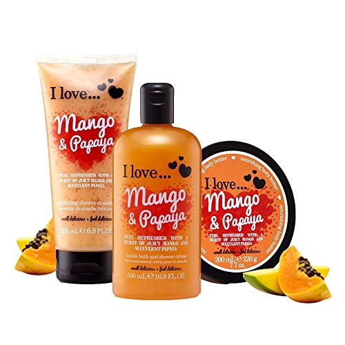 I Love... Mango & Papaya Shower Gel, Shower Smoothie and Body Butter Trio Pack