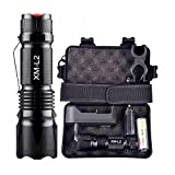Extremely Bright 10000 Lumens LED Torch 5 Modes XM-L L2 Taktischtaschenlampe with Battery by Huichang, Rechargeable Torch for