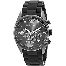 Emporio Armani AR5889 - Reloj cronógrafo de cuarzo para hombre con correa de acero inoxidable, color negro