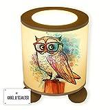 ilka parey wandtattoo-welt® - Lámpara de Mesa Infantil lámpara de Noche búho en Tronco con Gafas Aquarell tl065