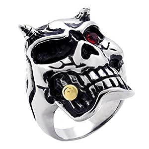Konov Jewellery Men's Gothic Stainless Steel Skull Ring, Colour Silver Gold Red, Size M (with Gift Bag)