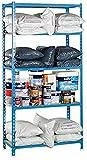 Simonrack Maderclick Plus 5/500 Madera Metal Azul, Madera natural - Estanterías para el hogar (5 estanterías, Madera, Metal, Azul, Madera natural, 180