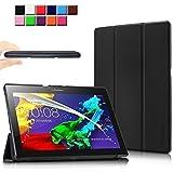 Lenovo Tab 2 A10-70 / Tab 2 A10-70L / Tab 2 A10-70F / Tab 2 A10-30F / Tab 2 A10-30L / Tab 3 10 Business/ Tab3 10 Plus Funda Case, Infiland Ultra Delgada Tri-Fold Smart Case Cover PU Cuero Smart Cascara con Soporte para Lenovo Tab 2 A10-70/Tab 2 A10-30/Tab 3 10 Business/ Tab3 10 Plus 10.1-Inch Android Tablet(con Auto Reposo / Activación Función), Negro