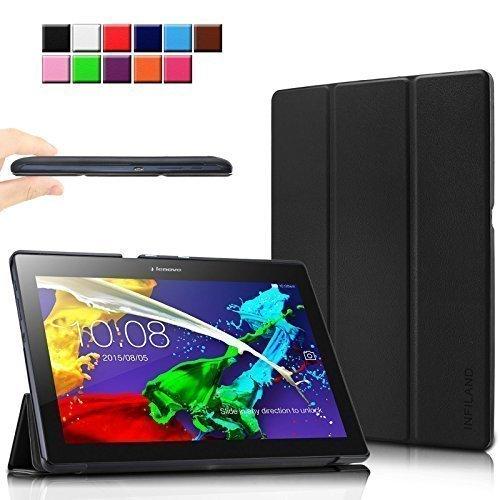 Infiland Lenovo Tab 2 A10-70 / Tab 2 A10-70L / Tab 2 A10-70F / Tab 2 A10-30F / Tab 2 A10-30L / Tab 3 10 Business/ Tab3 10 Plus Hülle Case, Ultra Dünn Tri-Fold Smart-Muschel PU Leder Schutzhülle für Lenovo Tab 2 A10-70 / Tab 2 A10-30 / Tab 3 10 Business/ Tab3 10 Plus 10,1 Zoll Tablet (mit Auto Schlaf / Wach Funktion)(Schwarz)