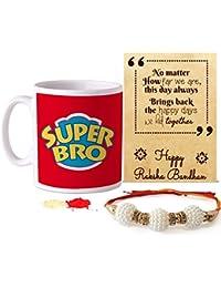 TIED RIBBONS Rakhi Gift Set for Brother (Designer Rakhi, Printed Coffee Mug, Rakshabandhan Special Card, Roli Chawal)
