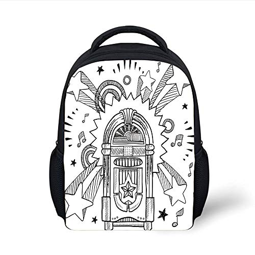 Jukebox,Retro Vintage Cartoon Sketchy Style Radio Music Notes Box with Stars Image,Black and White Plain Bookbag Travel Daypack ()