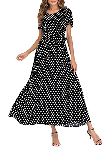 Romacci Damen Lange Polka Dot Kleid Kurzen Ärmeln Hohe Taille Krawatte A-Line Vintage Maxi Kleid -