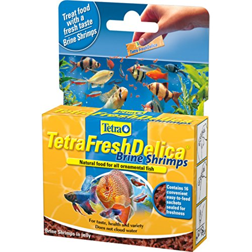 Tetra Fish Food Fresh Delica Brine Shrimp 48g, Gel Food Treats for Healthy Feeding Fun for all Onamental Fish