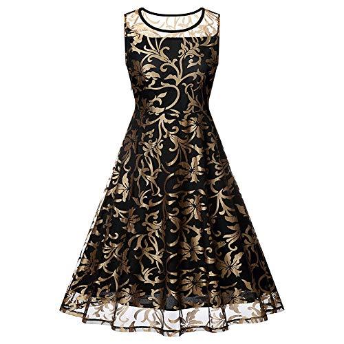Konservative Solide Runde Anzug (XUEGM-hat Frauen ärmellose Gold Floral Lange lässige ausgestelltes Kleid Party Cocktail formelle Kleidung Anzug für Abend, Heimkehr, täglich etc,L)