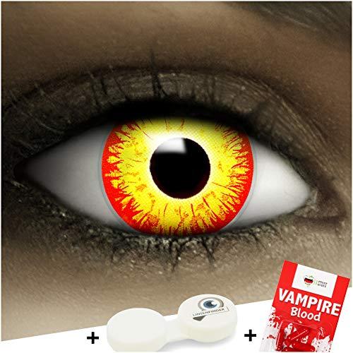 Farbige Rot Gelbe Es Kontaktlinsen Horror Clown + Kunstblut Kapseln + Behälter von FXCONTACTS®, weich, ohne Stärke als 2er Pack - perfekt zu Halloween, Karneval, Fasching oder (Red Wolf Kostüm Kontaktlinsen)
