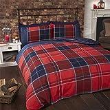 Tartan Kariert Gestreift Rot Blau Weiss Baumwollmischung Einzelbett Bettbezug
