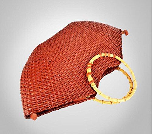 Dermale handgewebte Fisch Lippen natürlichen Bambus geflochten Stroh Handtasche Lederhandtasche Brown