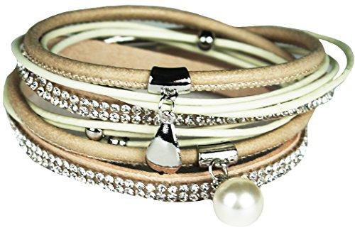 Mevina Damen Strass Armband Wickelarmband Leder Perle Magnetverschluss Shamballa Perlenarmband Creme A1171 (Creme Perle Armband)