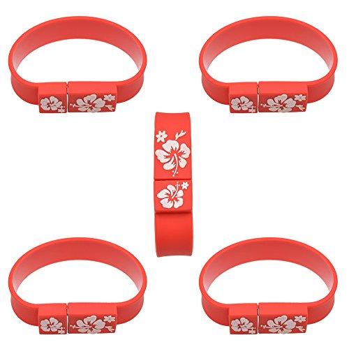 5 Pack Handgelenk Band USB 2.0 USB Stick 2.0 Speicherstick Memory Hoch Speed Flash Drive - Rot 2 GB Von Uflatek