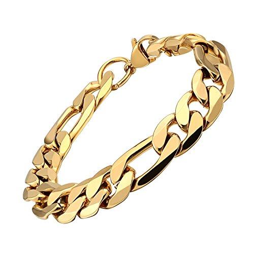 Knsam - bracciale uomo in acciaio inossidabile placcato oro 18k oro 21cm