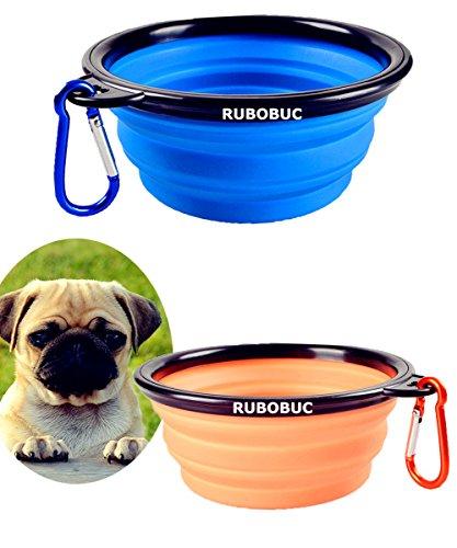 Tazón grande para perros de viaje portátil, 13 cm de diámetro para perros de tamaño mediano a grande, pato plegable ligero para perros Tazón para gatos Cuenco de viaje Tazón para alimentadores de agua con mosquetón